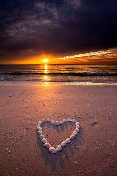 Marco Island Love shells composed in heart on beach with sun setting over the water. Beautiful Sunset, Beautiful Beaches, Beautiful World, Marco Island Beach, Heart In Nature, Heart Art, I Love The Beach, I Love Heart, Happy Heart