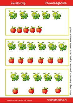 Citovaardigheden voor kleuters, kleuteridee.nl ,meten en getalbegrip, Waar zie je evenveel, waar meer en waar minder rupsen dan appels 2 , rekenen voor kleuters met veel lessuggesties