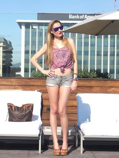 Chilling at the rooftop 11-4-2014  Bikini: Dolores Cortes / Sunnies: Blenders / Short: Bershka / Cropped top: Primark / Bag: Louis Vuitton / Platforms: Blanco