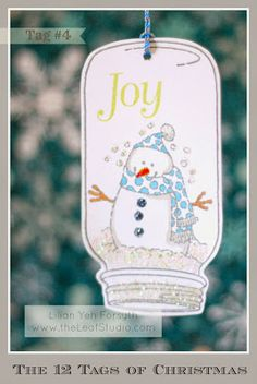 The 12 Tags of Christmas Project - Tag #4 Jar Snowglobe by Lilian YF - www.theleafstudio.com