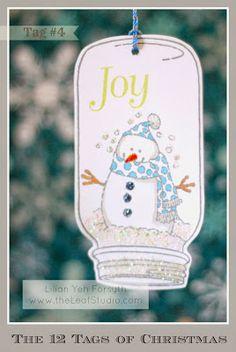 The 12 Tags of Christmas Project - Tag #4 Jar Snowglobe by Lilian YF - www.theleafstudio.com