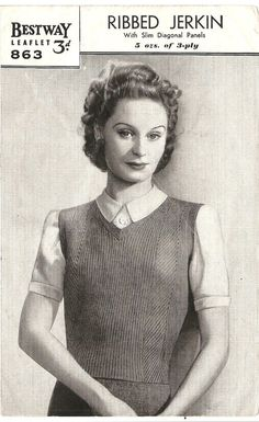 1940's Ribbed Vest - Ladies Knitting Pattern