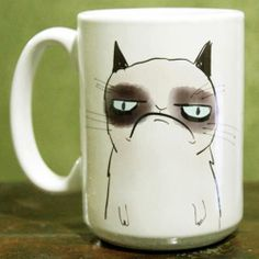 Grumpy cattttt <3 ..... Perfect coffee cup for me, because this is pretty much how I feel most mornings.