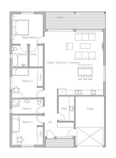 Small House plan OZ5 in modern architecture with three bedrooms. Small home design. House Plan