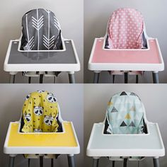Ikea Highchair great for multiple babies and toddlers in the house because they are stackable and how cute are these silicone placemats and cushions by YeahBabyGoods? Ikea High Chair, Ikea Chair, Diy Chair, Ikea Kids Stool, Antilop High Chair, Chair Cushion Covers, Seat Covers, Foster Baby, Ikea Baby