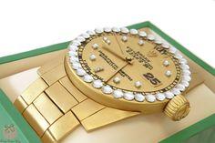 Rolex Watch Birthday Cake for Sean's 50th birthday!  #rolex #gold #watch #cake