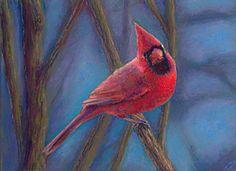 Red Cardinal Bird Pastel Painting Poucher