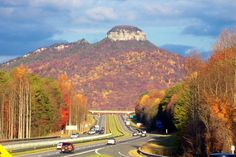 Pilot Mountain North Carolina!  Great hiking trails in the State Park that take you all the way around the top.
