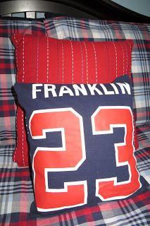 Sewing Pillows Room Mom Extraordinaire: No Sew pillows Sewing Pillows, Diy Pillows, How To Make Pillows, Shirt Pillows, Cushions, Baseball Pants, Baseball Jerseys, Baseball Tickets, Hockey