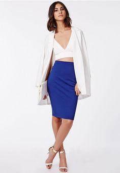 Blue Candace Scuba Midi Pencil Skirt Cobalt @ Missguided $16