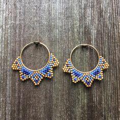 Bamboo Hoop Earrings - 2 inch large gold hoops/ big gold hoops/ bamboo earrings/ thick gold hoops/ statement earrings/ gifts for her - Fine Jewelry Ideas Seed Bead Earrings, Statement Earrings, Women's Earrings, Bamboo Hoop Earrings, Mode Blog, Beaded Jewelry Patterns, Bead Jewellery, Bijoux Diy, Creations