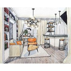 Interior sketch by Drawing Interior, Interior Rendering, Interior Sketch, Interior Architecture, Interior Design, Architecture Sketches, Autocad Layout, Environmental Design, Sketch Design