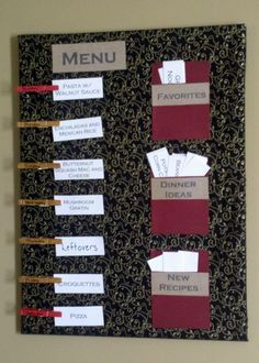 Weekly Menu Board: corkboard covered in fabric, pockets and labels are scrapbook paper.  No sew; all hotglued.  Menu ideas have recipe source on back of card (cookbook and pg number, blog, web address, etc).