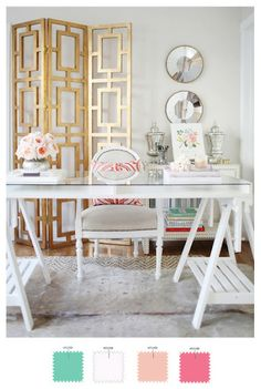 Love the room divider in the back and how pretty the Ikea desk looks in this space #HomeDecor #Gorgeous