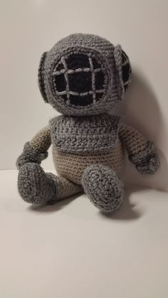Crocheted Deep Sea Diver MADE TO ORDER by TheLittleRedEngine, $40.00