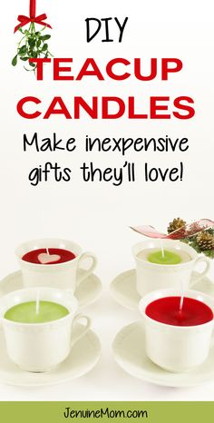 DIY Teacup Candles Tutorial -- what a great christmas gift idea! | JenuineMom.com