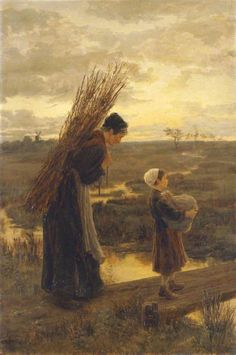 They Homeward Wend Their Weary Way (1875) - Alice Mary Havers - (English, 1850 - 1890))