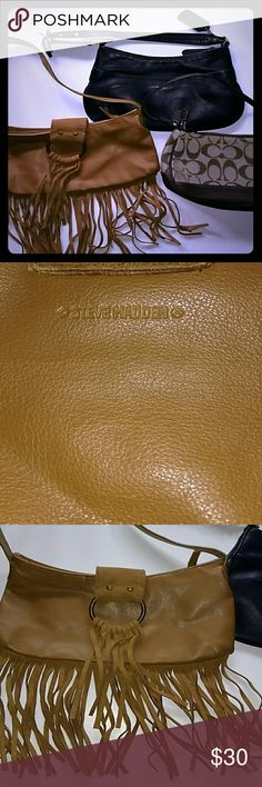 Steve Madden~ Small Fringe Purse + 2 FREE Adorable lil tan Fringe purse in great pre-loved condition.. Lightly worn on the outside, super clean on the inside.. there is one small pinkish spot (4th pic) possibly nail polish but not positive. I'm sure it can be removed but I haven't tried. The other 2 bags are free.. not sure if the authenticity since I purchased from a local site.. the black bag is Genuine leather w removable strap, and hang tag. See pics for measurements... All 3 are similar…