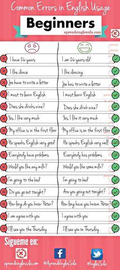 Common Errors in English Usage! Anonymous Topics: 19 Replies: 0 December 2016 at am Common Errors in English Usage! English Vinglish, English Course, English Tips, English Writing, English Study, English Lessons, English Class, Learn English Grammar, Learn English Words