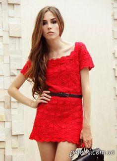 Красное платье из квадратных мотивов крючком. Схема мотива