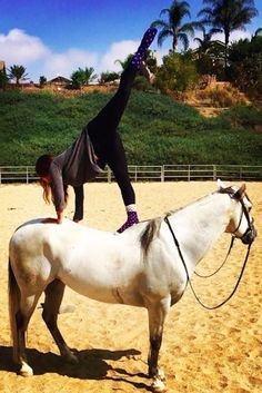 Unlike other methods of yoga with animals, horse yoga actually involves balancing poses on a horse's back.