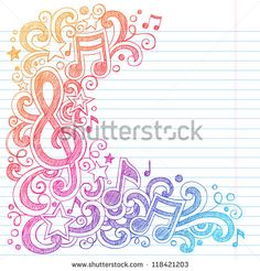 Music Notes G Clef Vector- Back to School Sketchy Notebook Doodles with Music Notes and Swirls- Hand-Drawn Vector Illustration on Lined Sketchbook Paper Background Music Doodle, Doodle Art, Music Drawings, Cute Drawings, Notebook Doodles, Pop Rock, Zentangle Patterns, Paper Background, Music Notes