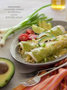 Avocado Cream Chicken Suiza Enchilada from FoodieCrush