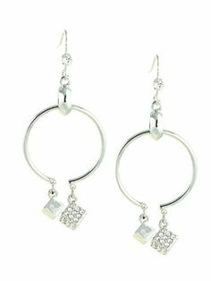 Crystal Pave Cube Drops Hoop Dangle Earrings le Jane. $33.00