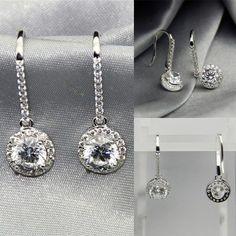 1.43Ct Pear brilliant Cut VVS1//D Diamond Clip-On Earrings 14K White Gold Finish