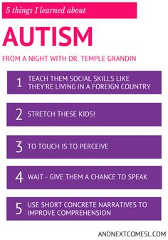 This works for ALL kids. Not just the ones with Austism! 5 things I learned about autism & hyperlexia from a night with Dr. Temple Grandin from And Next Comes L Autism Education, Autism Parenting, Autism Resources, Autism Classroom, Special Education, Inclusion Classroom, Aspergers Autism, Adhd And Autism, Children With Autism