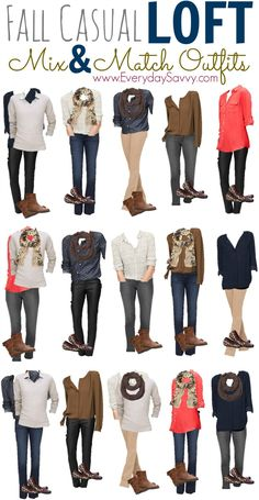 Look stylish this fall with 15 Fall Casual Mix and Match Outfits from Loft including booties and coated jeans