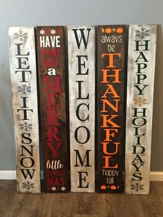 Reversible Winter Sign Welcome Sign Reversible Holiday Sign Reversible Christmas Sign Let it Snow Porch Sign Front Door Sign Diy Wood Signs, Painted Wood Signs, Hand Painted, Outdoor Wood Signs, Home Wood Sign, Fall Wood Signs, Rustic Signs, Metal Signs, Christmas Is Over