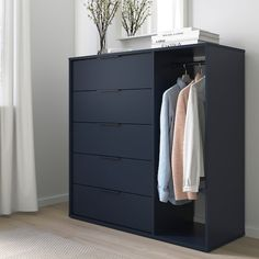 NORDMELA Chest of drawers with clothes rail, black-blue, cm. This clever piece with roomy drawers and a clothes rail accommodates both folded and hanging clothes. It takes up little space and is easy to place, whether in your bedroom or in the hallway. Black Chest Of Drawers, Bedroom Chest Of Drawers, Dresser Drawers, Storage Drawers, Locker Storage, Ikea Hemnes Chest Of Drawers, Chest Of Drawers Design, Wood Dresser, Shoe Storage