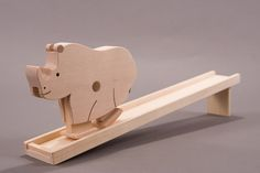Rhinoceros ~ Interactive Walking Toy – Great for dresser tops/mantles/coffee tables, etc. – Made from Birch & Beech woods.