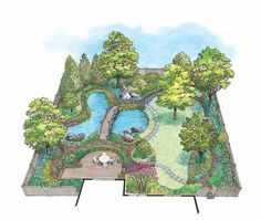 Eplans Landscape Plan: Large trees create the woodland look of this plan, which provides exactly the right environment for the native shrubs and the delicate wildflowers and ferns that need a bit of shade to flourish. If you'