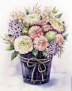 """Купить """"Сиреневая нежность"""" - сиреневый, акварель, букет, цветы, розы, нежность, пионы, картина в подарок"""