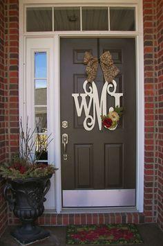 Wooden MONOGRAM door hanger/wreath/Custom Initial/burlap bow/decor/ red flowers