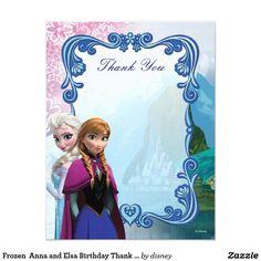 Frozen  Anna and Elsa Birthday Thank You