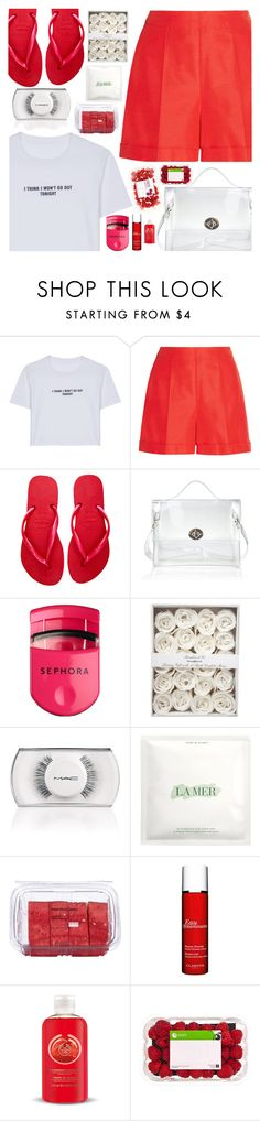 """""""So fruity and fresh"""" by floralandmay on Polyvore featuring WithChic, Oscar de la Renta, Havaianas, Sephora Collection, MAC Cosmetics, La Mer, Lindt, Clarins, The Body Shop and maysquad"""