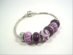 Purple European Bead Style Chunky Bracelet by cynhumphrey on Etsy, $17.99