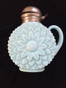 Antique Blue Milk Glass Flower Shape Syrup | eBay