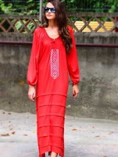 Jersey dress with handmade embroidery, red streetstyle, Contemporary Design Fashion Styles, Contemporary Design, Folk Art, Street Style, Style Inspiration, Embroidery, Inspired, Handmade, Closet