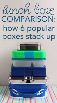 Lunch box comparison - How 6 popular lunch boxes stack up.  Awesome review including a TABLE of all the features you'd want to know about, plus links to her individual review posts on each option.  (from the http://wendolonia.com Blog - an awesome resource on Bento Box Packing)