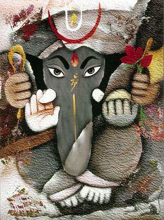 Lord Ganesha - Hindu Posters (Reprint on Card Paper - Unframed) Spiritual Paintings, Lord Ganesha Paintings, Shri Ganesh, Ganesha Art, Krishna, Ganesh Lord, Ganesh Images, Ganesha Pictures, Om Gam Ganapataye Namaha