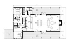 Home Design. 2 Bedrooms 1 Bath And 1 Toilet House Floor Plan With Two Patios Come With Modern Large Open Concept Living And Dining Room Idea And Simple Floor Plan Idea For Medium Size House. Modern Architecture Of Family Homes And Modern House Design Farmhouse Floor Plans, Cabin Floor Plans, Kitchen Floor Plans, Barn Plans, Farmhouse Style, Farmhouse Design, Cottage Farmhouse, Farmhouse Ideas, Cottage Style