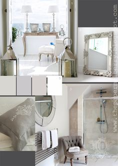 limed oak French styled furniture and palest shades for the bathroom - love the idea of a huge swept frame mirror above a basin and a pretty deep buttoned chair The Paper Mulberry: Essentially French! French Interior, French Decor, Room Inspiration, Interior Inspiration, Paper Mulberry, White Lanterns, Interior Decorating, Interior Design, French Country Style