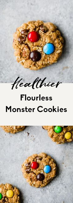 Incredible healthy monster cookies packed with peanut butter flavor, chocolate chips, coconut, chocolate candy pieces and nuts. These flourless monster cookies are a wholesome take on a childhood classic you know and love! Easy to make and great for customizing. #cookies #monstercookies #oatmealcookies #glutenfree #flourless #healthybaking #healthydessert Healthy Cookie Recipes, Healthy Cookies, Healthy Treats, Healthy Baking, Snack Recipes, Dessert Recipes, Kitchen Recipes, Healthier Desserts, Snacks