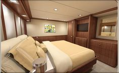Nordhavn 120-King Stateroom-Inboard View-Custom Yacht Interior Design-Destry Darr Design
