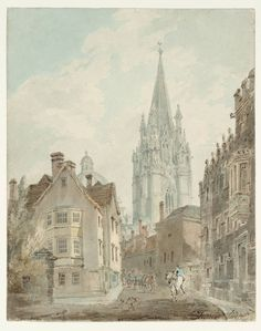 Joseph Mallord William Turner, 'Oxford: St Mary's Church and the Radcliffe Camera from Oriel Lane' 1792-3
