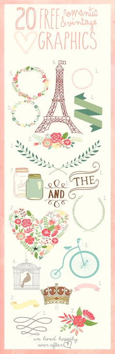 We Lived Happily Ever After: 20 Free Romantic and Vintage Graphics